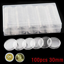 100 Pcs Coin Clear Plastic Round Storage Box 30mm Cases Capsules Holder Applied