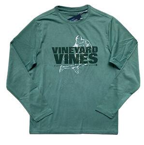 VINEYARD VINES Boys Performance Soccer Rainbow Kick Tee Green T-Shirt NWT M L