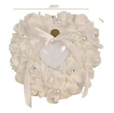 Wedding Flower Girl Basket and Ring Bearer Pillow Set - White