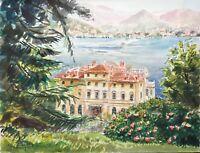 Stresa Lago Maggiore Villa Pallavicino acquarello originale dipinto a mano cm 28