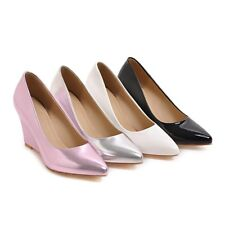 Women's Wedge Heels Party Shoes Synthetic Leather Pointed Toe Pumps AU Size D057