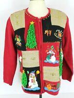 Lisa International Womens S Ugly Christmas Sweater Red Zip Tree Bells Presents