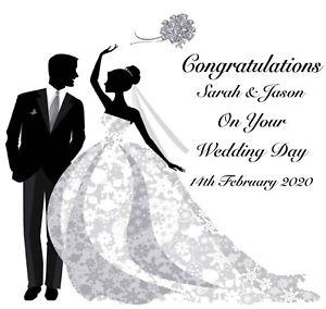 Handmade Personalised Wedding Day Card - Bride & Groom - Embellished with gems