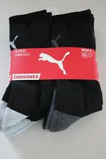 PUMA Men's 6 pair Black Cushioned Crew Socks size 10-13 Shoe 6-12 New