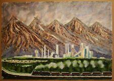 Russian Ukrainian Soviet Watercolor industrial landscape realism coalmine train