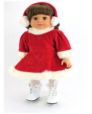 "Red Velour Skating Dress, Earmuffs and Skates Fits 18"" American Girl  Dolls"
