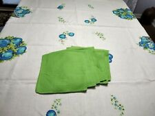 Vintage Linen Tablecloth & Six GREEN Napkins BLUE APPLES ON OFF-WHITE