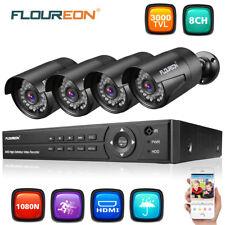 FLOUREON 8CH AHD DVR+4X Outdoor Bullet 1080P 3000TVL Camera CCTV Security Kit