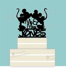 Disney Personalised Mr & Mrs Wedding Cake Topper, Couple, Black Acrylic