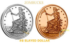 2019 SLAYED DOLLAR SILVER AND COPPER PAIR BULLION ZOMBUCKS TWO ROUNDS 0.999 FINE