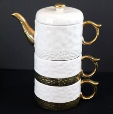 Anthropologie Duet Tea for Two Stacked Teapot & 2 Cups Mugs Cream & Gold