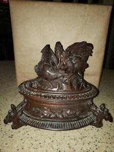 Antique German black forest wood carved Cockfight birds  jewelry box