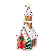 Radko Candied Cathedral Church Peppermint Christmas Glass Ornament