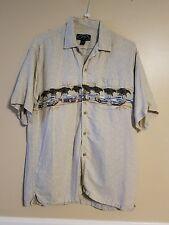 Newport Blue Short Sleeve Button Camp Shirt Men's Large - Woody Print