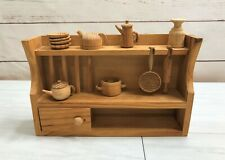 Vintage Hand Crafted Tiny Carved Wood Kitchen Doll House Display Collectible