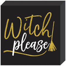 HALLOWEEN Witch Please DELUXE GLITTER STANDING PLAQUE ~ Birthday Party Supplies