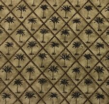 "WAVERLY TANGIER EBONY #D4017 Black Palm Tree Bamboo Trellis Fabric BY YARD 54""W"