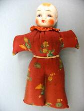 1930's Porcelain Head Half Doll ~ Full Body Silk Pincushion