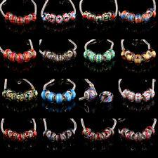 5pcs Silver MURANO GLASS BEAD LAMPWORK fit European Charm Bracelet Women