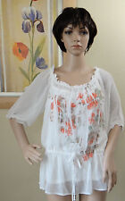 NW AB STUDIO sheer half sleeve white floral 2pc w camisole elastic neck blouse,M