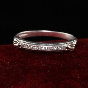 Antique Art Deco Platinum Single Cut Diamond Wedding Band - Size 6