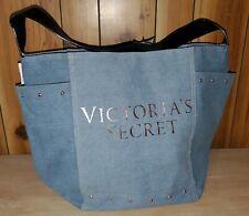 NWT Victorias Secret Satchel Tote Purse Denim Blue Jean Travel Bag Rose Gold NEW
