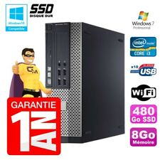 PC Dell 7010 SFF Intel I3-2120 RAM 8gb Disco 480Go SSD DVD Wifi W7
