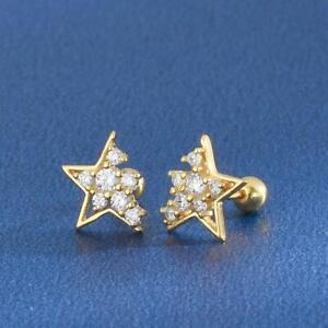 18K Yellow Gold Overlay Diamond 1.78 Ct Tiny Helix Stud Star Cartilage Piercing