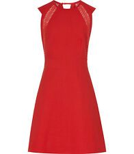 New Reiss Women's LACE COTTON DAY DRESS  POINSETTIA Fit & Flare 0 US XXS
