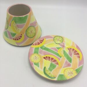 Yankee Candle 2 Piece Citrus Large Shade Topper and Plate Lemons Lime FLAW