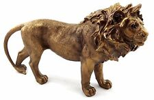 Lion Standing Ornament Statue Figurine Sculpture Bronze Home Garden Décor 30 cm
