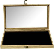 Mooca Wood Glass Top Jewelry Display Case Accessories Storage Box With Metal