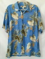 Joe Marlin Men's Hawaiian Shirt Size Xl  Short Sleeve Blue Green Palm Tree
