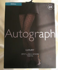 M&S Luxury Spot & Lurex Black & Silver Funky Party Pantyhose Tights Small RRP £8