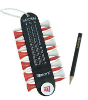 Masters Golf - Tee Holder with Handicap Calculator, Ball Marker and Pencil