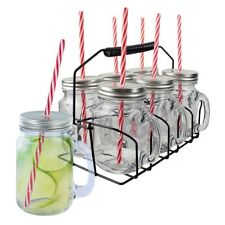 SET 6 BOCAL VERRE JAR SMOOTHIE + BOUCHON PAILLE ET SUPPORT CHOPE DECO