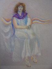 Étude de femme. Dessin au pastel, signé ( fond d'Artiste Vershaeve ) 47x35
