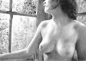 'Longing' A4 LARGE A3 A2 Female Nude erotic PENCIL DRAWING ART PRINT RussellArt
