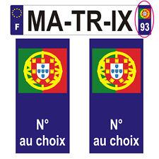 2 Stickers plastifiés BLASON PORTUGAL plaque d'immatriculation - 10cm x 4,7cm