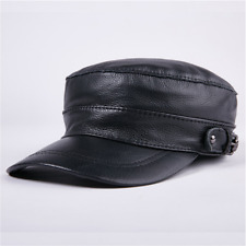Mascorro Men s Flat Top Genuine Leather Biker Cap With Chain Black Leather  C58 944b0094f3d5