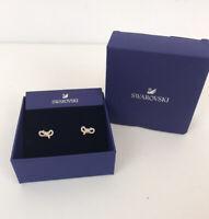 Swarovski Stud Earrings Rose Gold Bow Crystal Stones New In Box