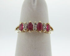 Natural Rubies Diamonds Solid 14k Yellow Gold Ring 4.5mm Band FREE Sizing