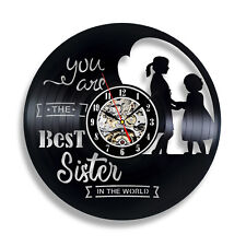 Best Sister Ever Vinyl Record Wall Clock Decor Handmade Art Unique Gift Vintage