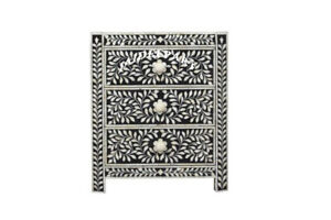 Handmade Antique Bone Inlay Solid Wood 3 Drawer Chest Bedside Table Nightstand