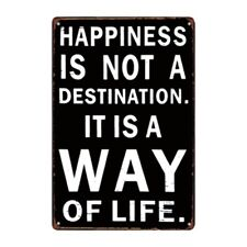 Metal Tin Sign happiness is a way of life Decor Bar Pub Home Vintage Retro