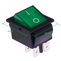 Interruttore a bilanciere 12 V Bipolare Luminoso On/Off 31 x 26 mm 250V MAX 16A