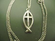 Vintage Sivlertone Christian Fish Cross Pendant Necklace