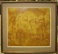 """John Wheat Vintage Modern Abstract """"City in the Sun"""" Listed Connecticut Artist"""