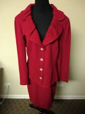 ST. JOHN EVENING NWT Pink Solid Knit Skirt Suit Jacket:12 Skirt:10 HH3164