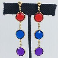 Rhinestone Gem Open Bezel Earrings Dangle Post Pierced Red Blue Purple Vintage
